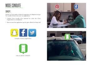 Planche sur le concept MODE CONDUITE : utiliser les icônes d'application pour communiquer sur un mode conduite Proposition imaginée par Camille Lieffroy